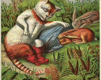 Antique Puss-in-Boots Hunting Rabbits, 1869, Cautionary Tale 2, Victorian England, Nursery Woodland Creatures, Country Cottage
