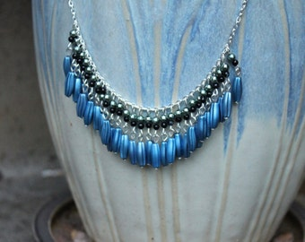 Black and Blue Fringe Necklace, Metallic Blue, Beaded Necklace.