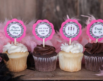 Bachelorette Party Cupcake Toppers - Bachelorette Party Decorations - Bachelorette Cupcake Toppers in Hot Pink & Black Zebra (12)