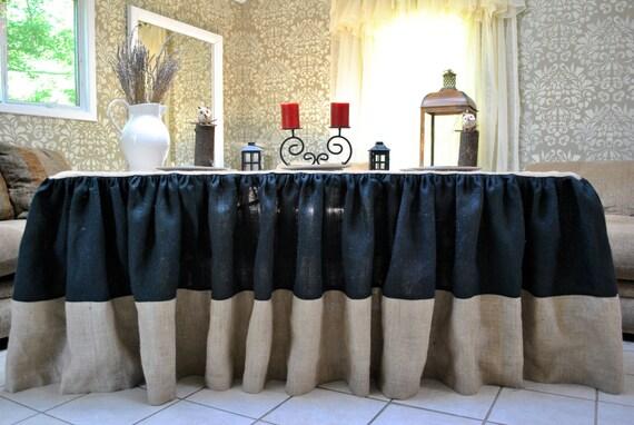 SALE Black and Natural Burlap Tablecloth