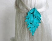 Woodland Hair Clip, Fairy Silk Leaf Hair Accessory in Turquoise and Emerald