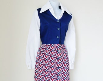 Maxi - 1960s - Dress - Flight Attendant Style - Mad Men - Retro Mod - Hip - Librarian - Navy - Red - White - Size 10 - Recycled - UNIQUE