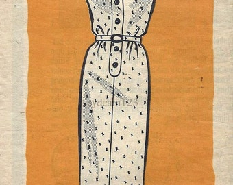 Vintage 1964 Button Front Sheath Dress Button Tab Shoulders...Mail Order 9264 Bust 43
