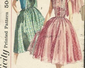 Vintage 1950s Bateau Neckline Shirtwaist Full Dress Pattern...Collarless Jacket...1957 Simplicity 1988 Bust 33