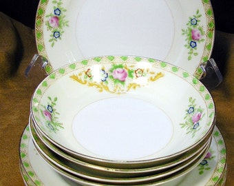 1930s York of Japan 4 B&B Plates and 4 Berry Bowls: A Dash of Deco