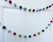 Happy Hearth Garland - felt ball garland in blues, greens, and red - 7 ft  - holiday garland, happy Christmas garland festive