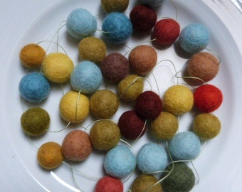 Felt ball garland - Meadow garland in soft blues, browns and greens with orange accents - 6.5 ft long