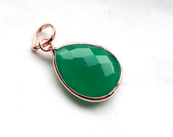Green Onyx Teardrop Faceted Gemstone Pendant in 18k Rose Gold Vermeil Setting // 15mm x 25mm