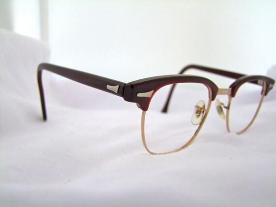 Art craft wine coloured mens vintage eyeglasses clubman for Art craft eyeglasses vintage