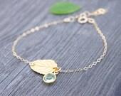 Tiny Gold Leaf Bracelet, Birthstone Bracelet, Peridot Bracelet, Unique Bracelet, Life Like Leaf Bracelet, Real Leaf Bracelet, Mother's Day