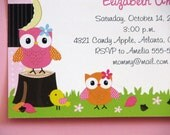 NEW Fall Owl Birthday Invitation or Baby Shower