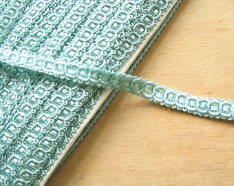 Pale Aqua Vintage Trim Braid Edging - Light Blue Fabric Trimming - Vintage Fabric Trim - Duck Egg Blue Trim