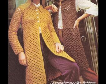Crochet Coat & Long Vest Pattern - Bust Size 32, 34, 37, 40 Inch – PDF 197120 – Crochet