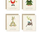Modern Santa's Workshop Holiday Greeting Card Set of 8 with Matching Kraft Envelopes