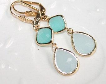 Alice Blue Earrings,Mint Blue Earrings,Blue Bridal Earrings,Mint Drop Earrings,Double Drop Bridesmaid Earrings,Pastel Seafoam Mint Jewelry