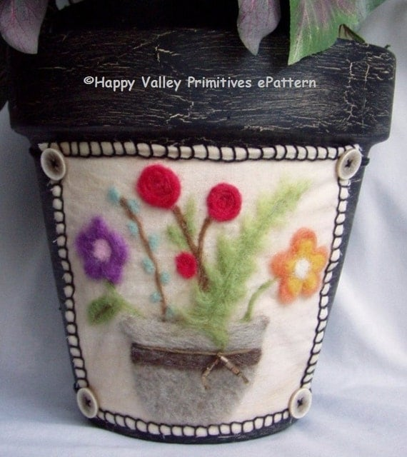 Needle Felting PATTERN Flower Pot Wrap Instant Digital Download PDF epattern by Happy Valley Primitives