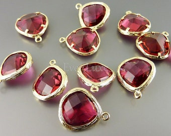 2 ruby red glass stone in textured gold bezel setting, colorful glass pendant / jewelry supplies 5058G-RU (bright gold, ruby, 2 pieces)
