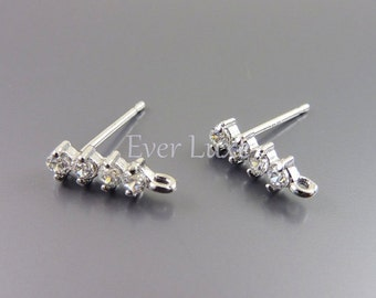 2 tiny simple CZ Cubic Zirconia bar stud earrings, earring supplies, bridal / wedding jewelry supplies 1734-BR (bright silver, 2 pieces)