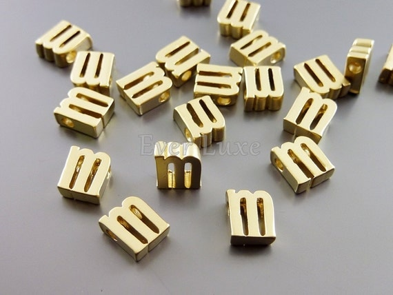 2 lower case letter m matte gold initial beads initial charms alphabet beads