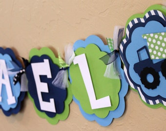 Dump Truck Navy Sky Blue Lime Green Monster Truck NAME or IT'S A BOY Banner Construction Big Rig Cars Party Decorations Baby Shower