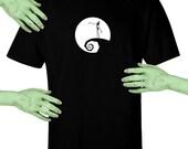 Voodoo Sugar Jack Skellington On Hill Men's / Unisex Black t-shirt Plus Sizes Available