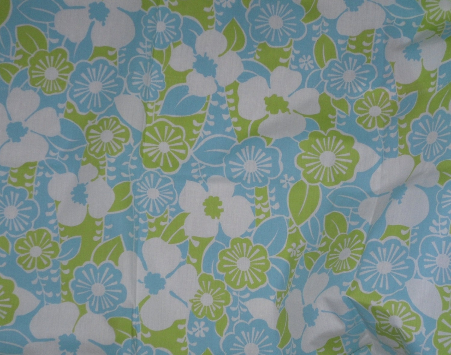 1960s vintage baby blue and chartreuse cottton sheeting fabric for Retro baby fabric
