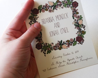 """Customizable Floral Wedding Ceremony Program Booklet, 5.5x8.5"""" in Berry, Pink, Brown, Tan and Green with Floral Wreath Design"""
