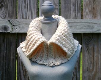 The Cream Split Cowl Hand Crocheted
