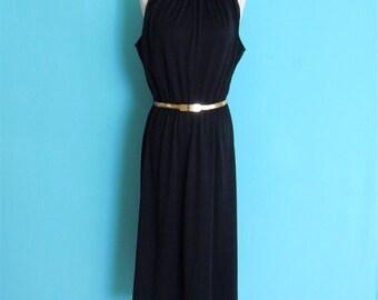 vintage 70's black mock neck party  dress // midi length sleeveless dress ~ small medium