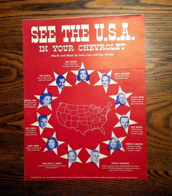 Worksheet. Sheet Music See the USA In Your Chevrolet 1950