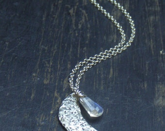 MANI. Norse Crescent Moon in hammered sterling silver with  rainbow moonstone trapezoid. Handmade Made to order Boho Necklace