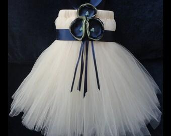 Flower Girl Dress, Little Girls Formal Dresses, Navey and Sage Flower Girl Dress