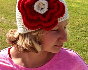 Red and Cream Crochet Flower Hat for Women or Teens