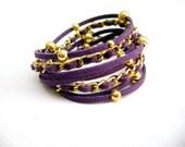 Wrap Bracelet, Boho Bracelet, dark violet , suede, double wrap, boho chic double wrap eco suede gold Violet Blast -