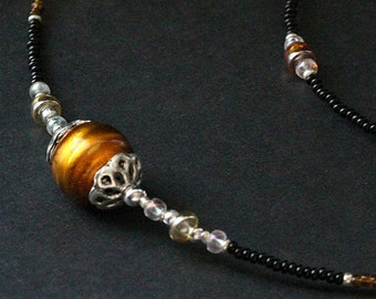 Eyeglass Chain. Tawny Amber Glasses Necklace. Nurses Lanyard. Auburn Eyeglass Holder. Losing My Marbles Badge Lanyard. Handmade Lanyard.