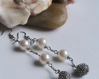 Long Ivory Pearl Silver Earrings - Pearl Dangle Earrings