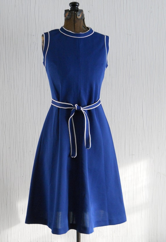 Vintage Sleeveless Polyester Spring Summer Dress Navy Blue Lady Carol of New York