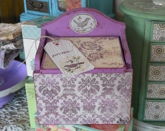 PURPLE RECIPE BOX, Salt Box Style, Toile with Bird Recipe Box, Hand Painted, Decoupage, French Toile