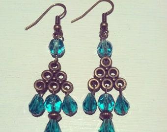 Teal glass chandelier earrings