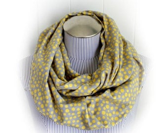 Gray and Yellow Polka Dot Infinity Scarf, Cozy Flannel Dots