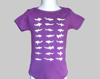 Shark Baby Bodysuit Organic Purple