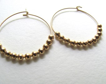 Gold hoop earrings with tiny gold plated beads, geometric modern jewelry