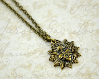 Two for One Sale....Sacred Heart Necklace in Gold Solid Bronze