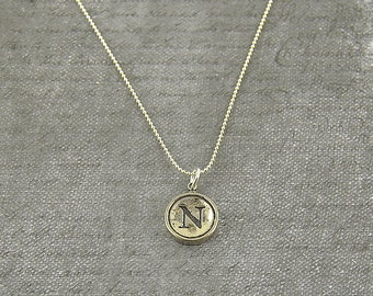 Letter N Necklace - Sterling Silver Initial Typewriter Key Charm Necklace - Gwen Delicious Jewelry Design GDJ
