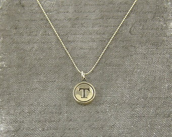 Letter T Necklace - Silver Initial Typewriter Key Charm Necklace - Gwen Delicious Jewelry Design GDJ