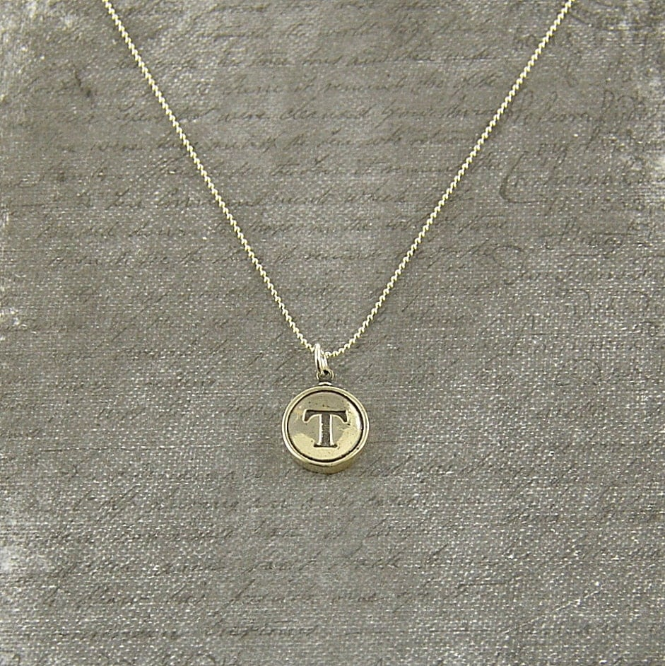 letter t necklace silver initial typewriter key charm