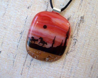 Fused Dichroic Glass Pendant, A Desert Night Run, Fused Glass Jewelry, Dichroic Necklace, Nature, Horses, Cactus, 97-13