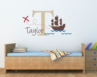 Pirate Ship Wall Decal with Initial & Name - Personalized Name Wall Decal - X marks the spot - Large