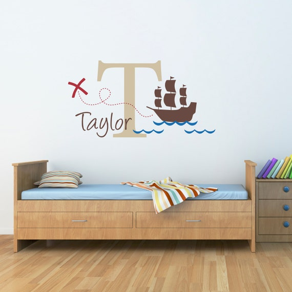 pirate ship wall decal with initial name personalized name. Black Bedroom Furniture Sets. Home Design Ideas