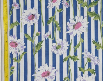 "1 yard x 36""w Vintage 50s  Blue and White Stripe with Long Stem Daisy Cotton  Quilt  Fabric"